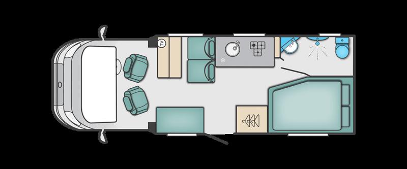 birds eye view of campervan layout