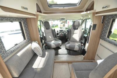 motorhome interior with swivel seats