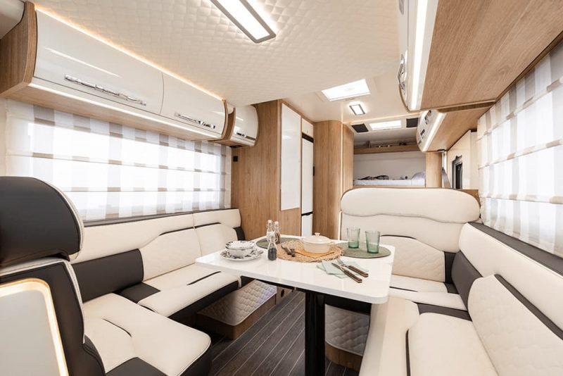 motorhome interior cream seating area