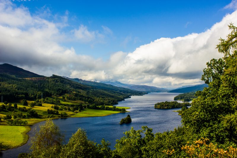 View from Queen's View at Loch Tummel in Scotland, UK, on a moderately bright, cloudy day.