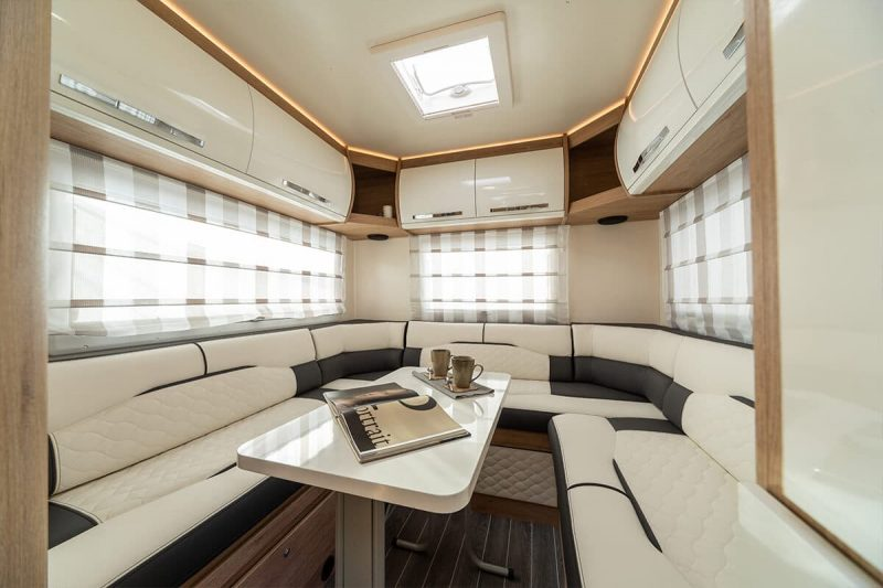 motorhome rear seating and table