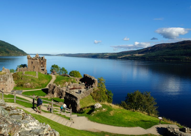 The castle ruins and the lake on which they stand, Loch Ness, are both very popular tourist attractions in the Scottish Highlands