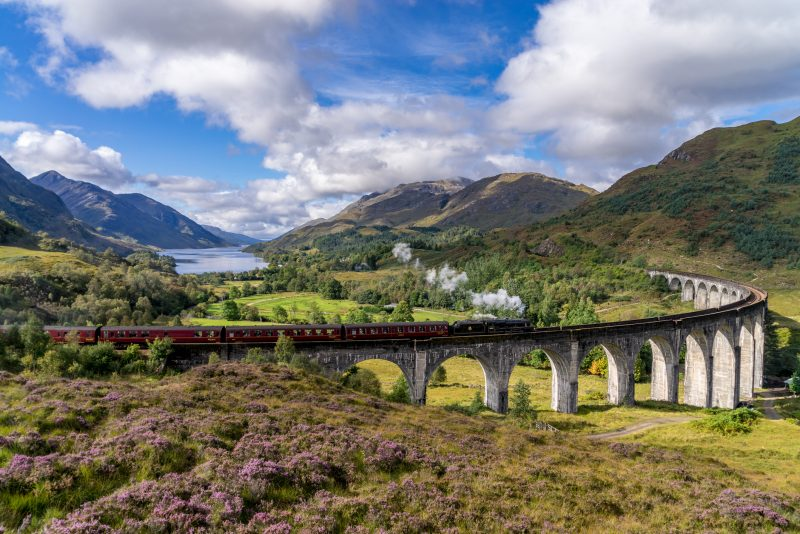 Famous Glenfinnan Railway Viaduct in Scotland